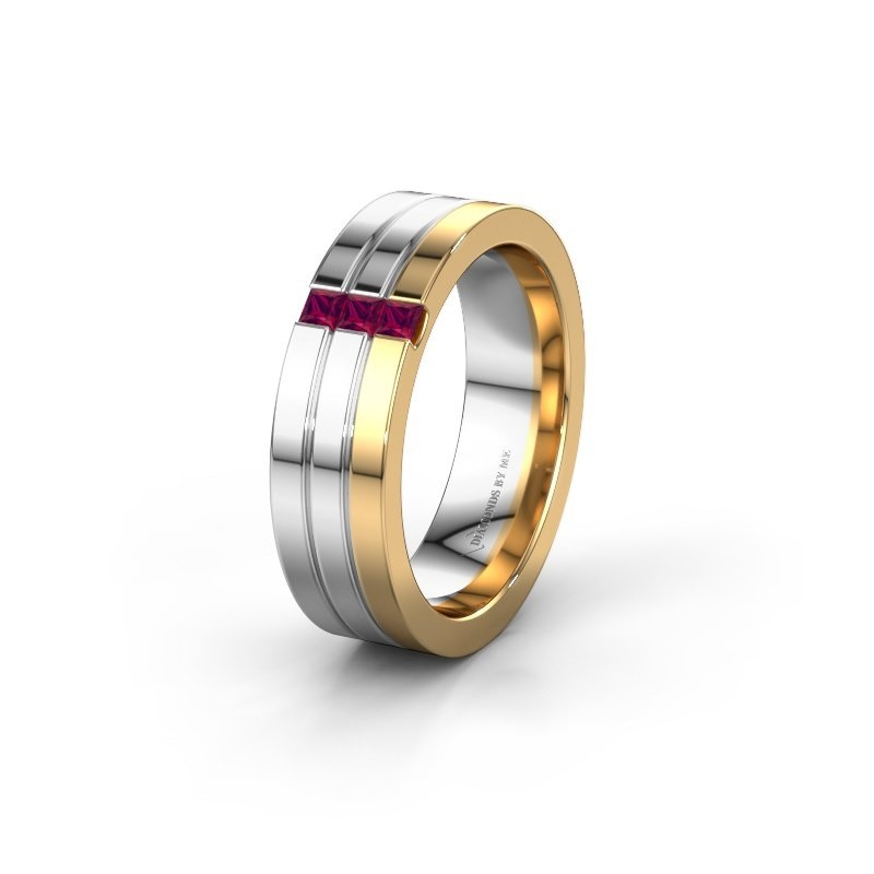 Wedding ring WH0428L16BP 585 gold rhodolite ±6x2 mm