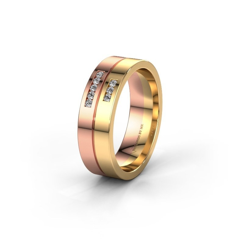 Wedding ring WH0207L16AP 585 rose gold zirconia ±0.24x0.07 in