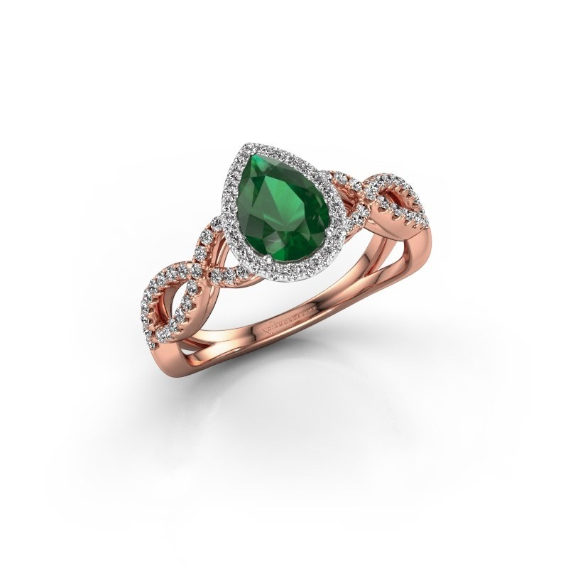 Engagement ring Dionne pear 585 rose gold emerald 7x5 mm