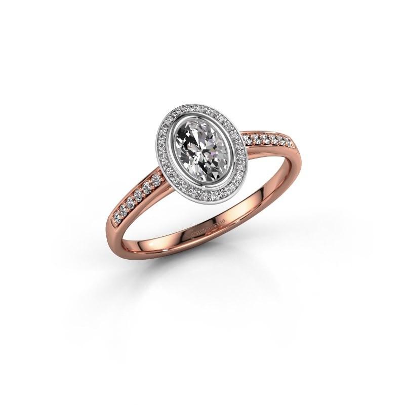 Verlovingsring Noud 2 OVL 585 rosé goud zirkonia 6x4 mm