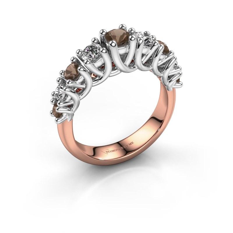 Engagement ring Fatima 585 rose gold smokey quartz 3.7 mm