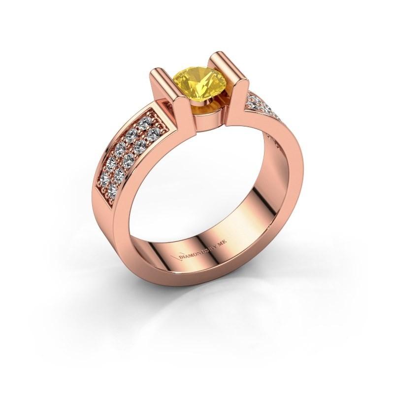 Verlovingsring Sofie 3 585 rosé goud gele saffier 5 mm