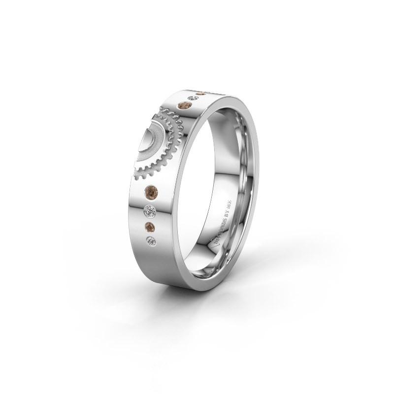 Trouwring WH2116L25A 925 zilver bruine diamant ±5x1.7 mm