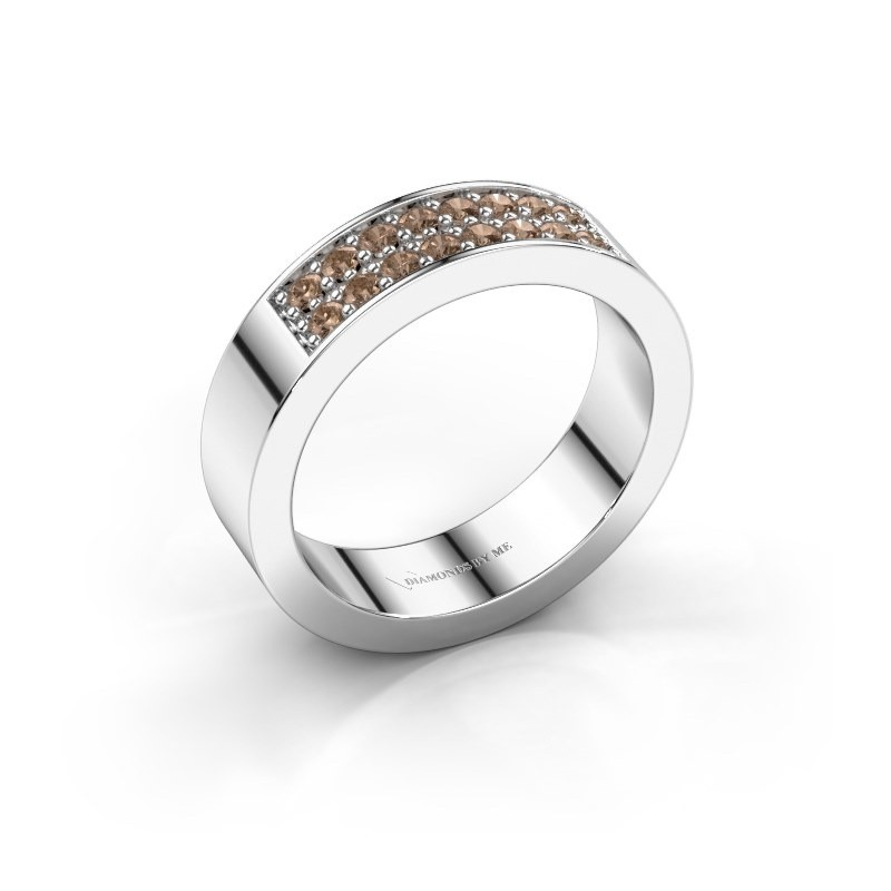 Stackable ring Catharina 5 585 white gold brown diamond 0.32 crt