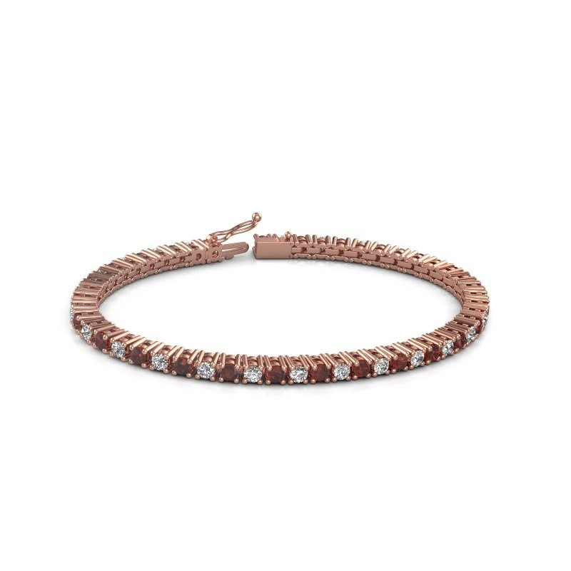 Tennis bracelet Petra 375 rose gold garnet 3 mm