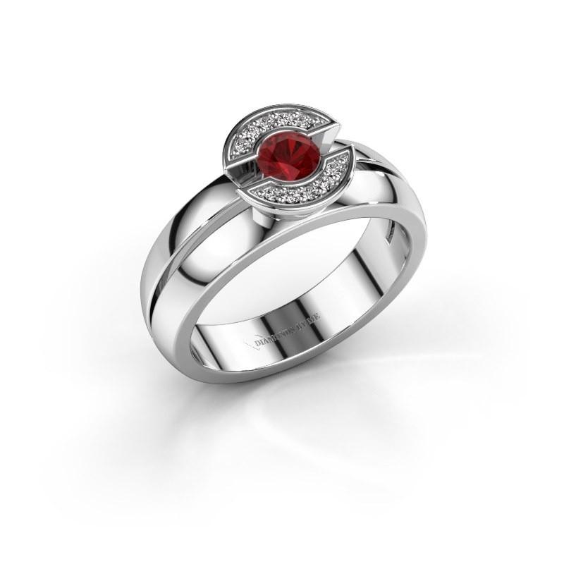 Ring Jeanet 1 950 platina robijn 4 mm