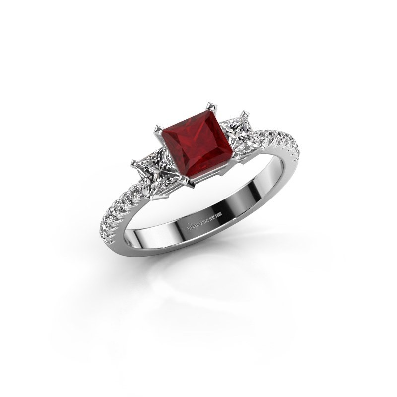 Engagement ring Dorla 925 silver ruby 5 mm