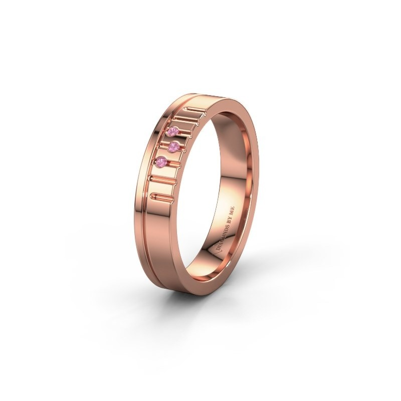 Friendship ring WH0332L14X 585 rose gold pink sapphire ±0.16x0.06 in