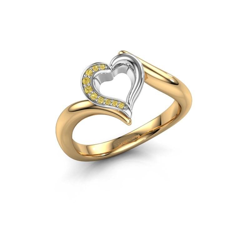 Ring Katlyn 585 goud gele saffier 0.8 mm