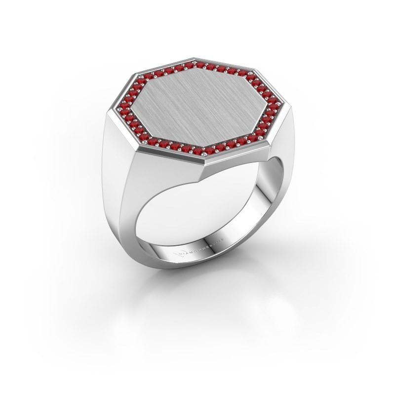 Men's ring Floris Octa 4 375 white gold ruby 1.2 mm