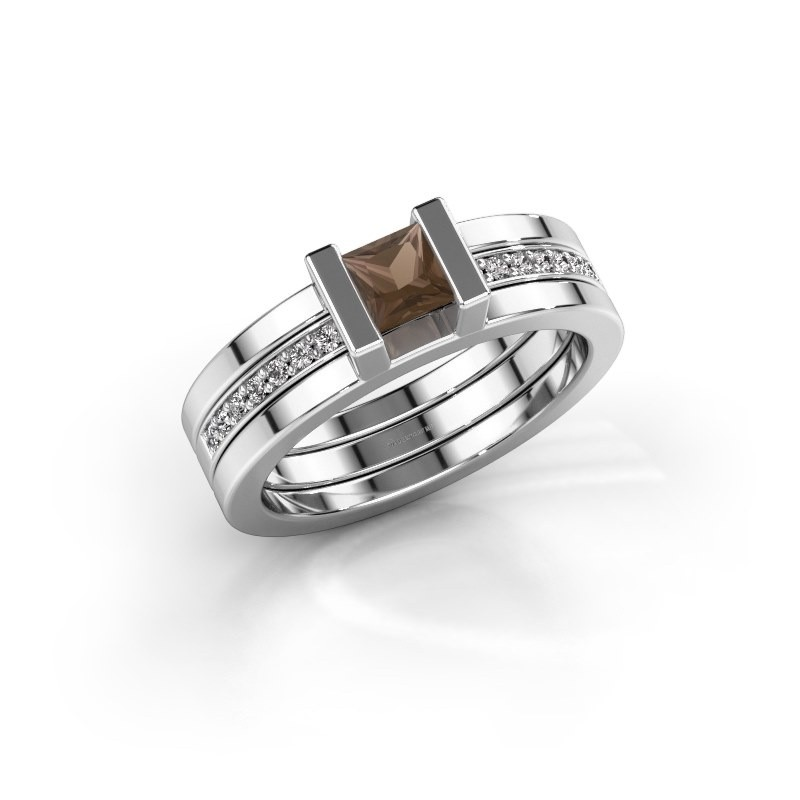 Ring Desire 925 zilver rookkwarts 4 mm