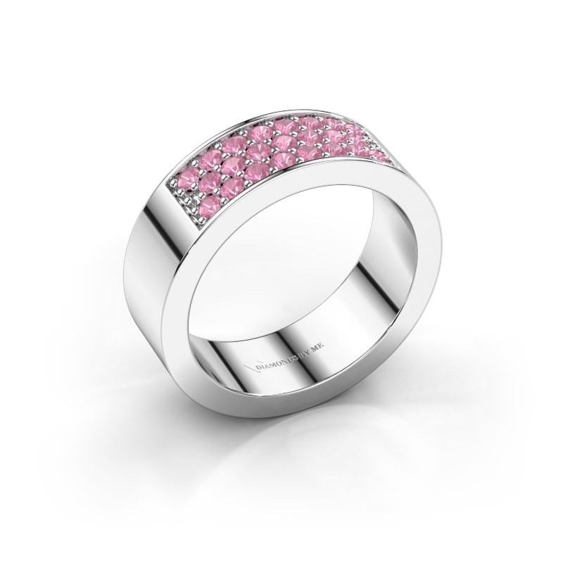 Ring Lindsey 5 585 white gold pink sapphire 1.7 mm