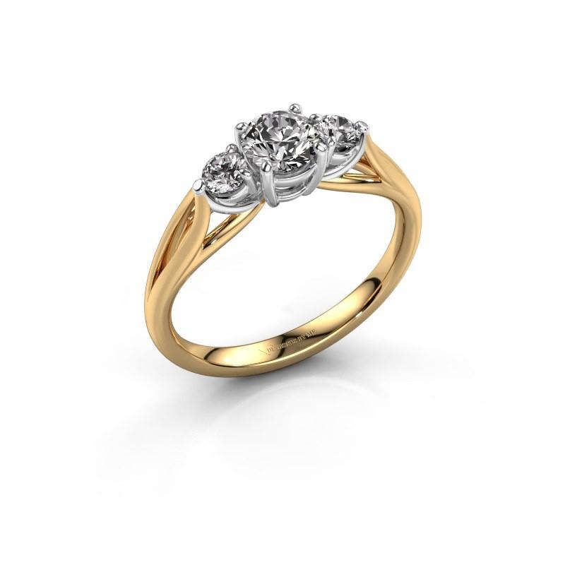 Bague de fiançailles Amie RND 585 or jaune diamant 0.70 crt