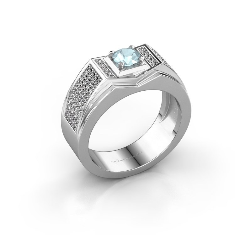 Men's ring Marcel 925 silver aquamarine 5 mm