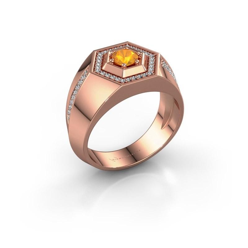 Men's ring Sjoerd 375 rose gold citrin 4.7 mm