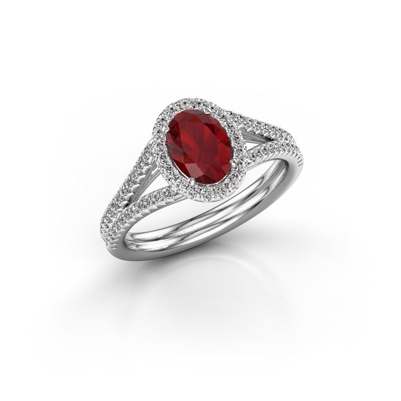 Engagement ring Rachele 2 585 white gold ruby 7x5 mm