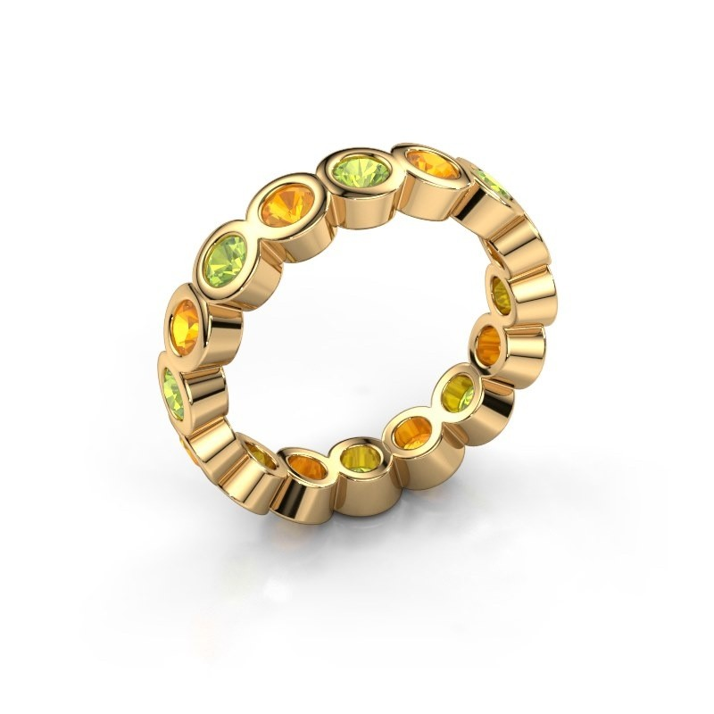 Stackable ring Edwina 3 375 gold peridot 3 mm
