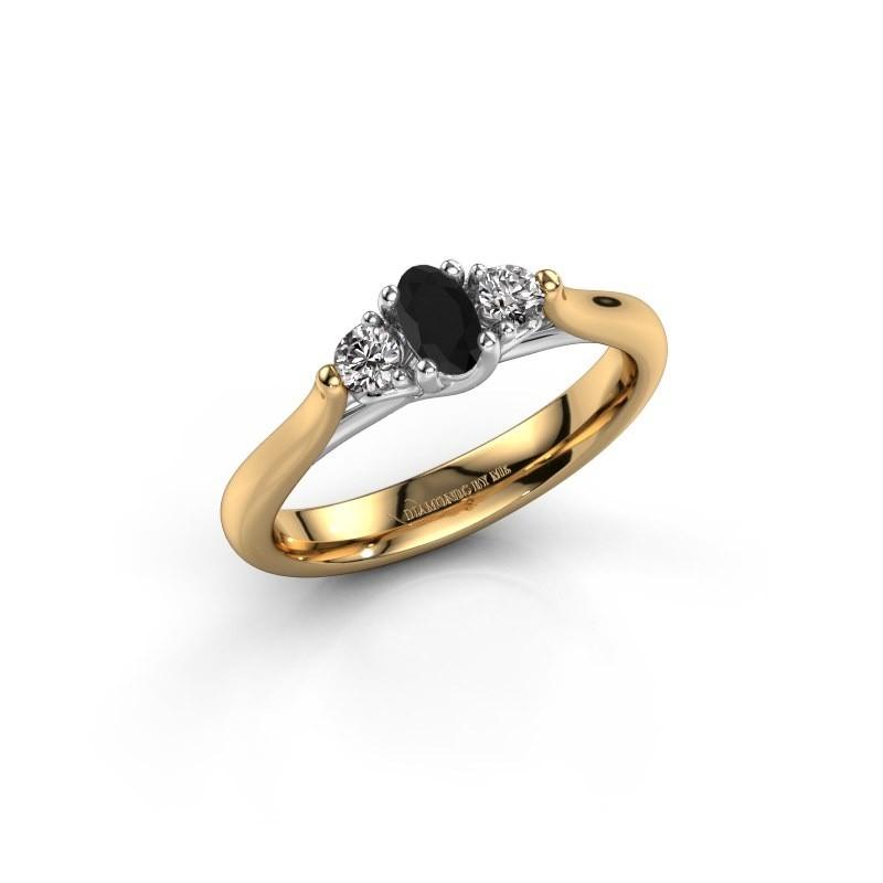 Verlovingsring Jente OVL 585 goud zwarte diamant 0.436 crt