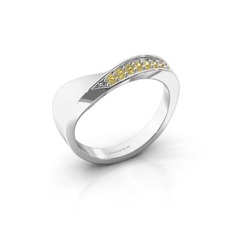 Ring Lynn 585 witgoud gele saffier 1.6 mm