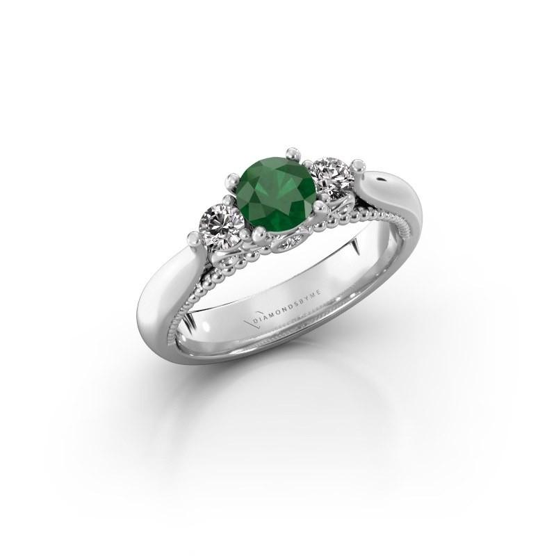 Verlovingsring Tiffani 925 zilver smaragd 5 mm
