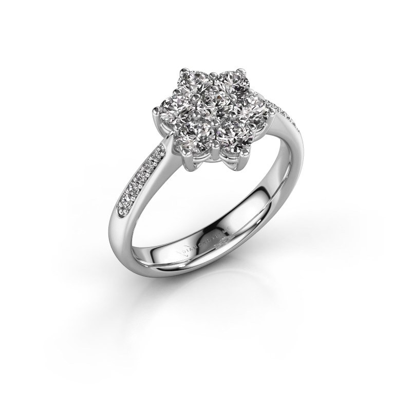 Verlovingsring Chantal 2 950 platina zirkonia 3 mm