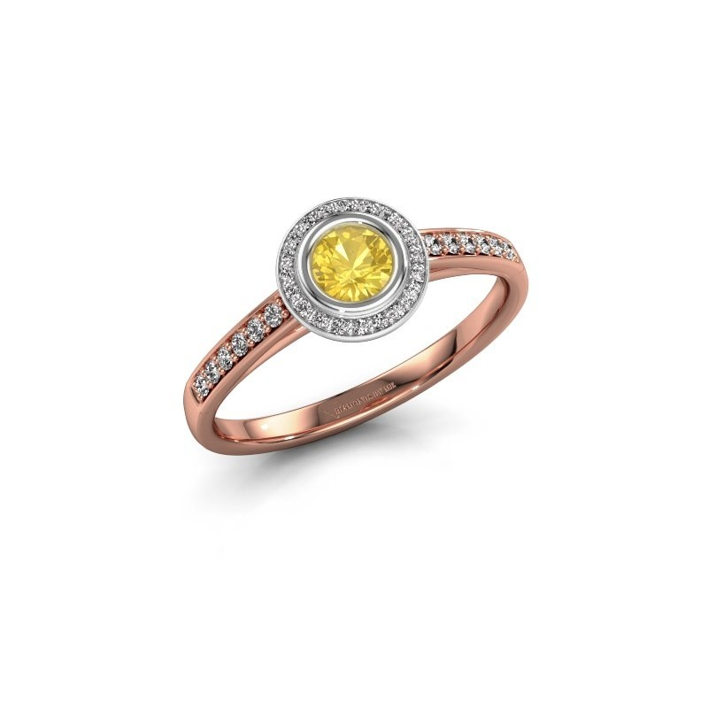 Engagement ring Noud 2 RND 585 rose gold yellow sapphire 4 mm