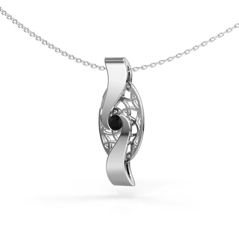 Hanger Darleen 585 witgoud zwarte diamant 0.12 crt