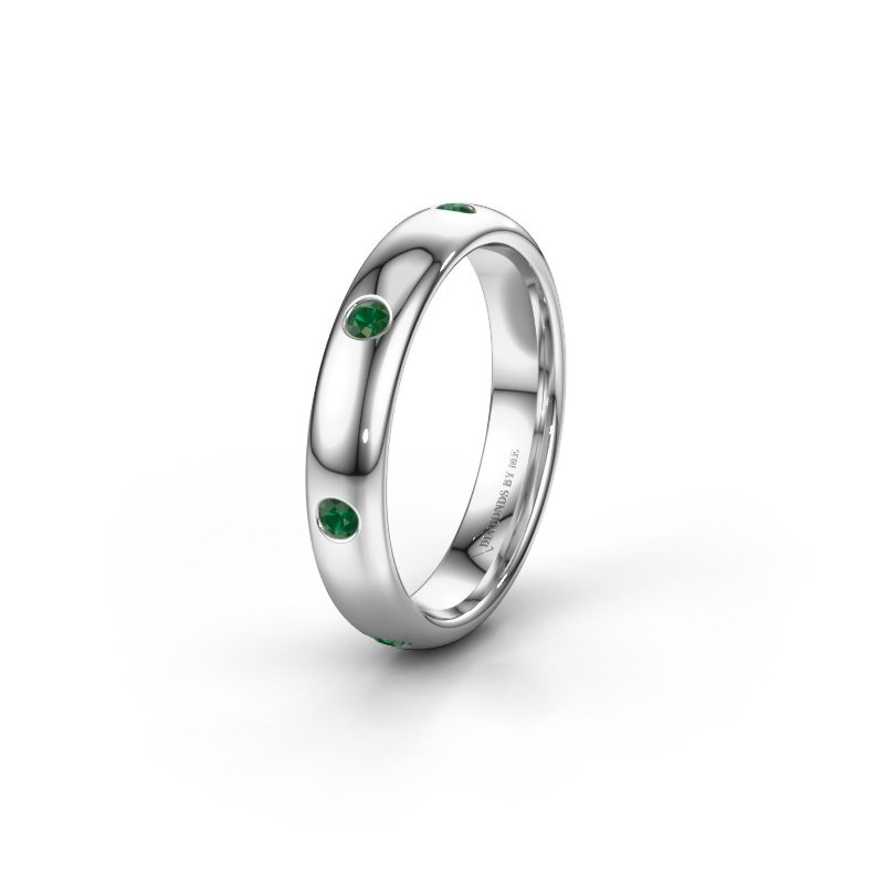 Wedding ring WH0105L34BP 375 white gold emerald ±4x2 mm