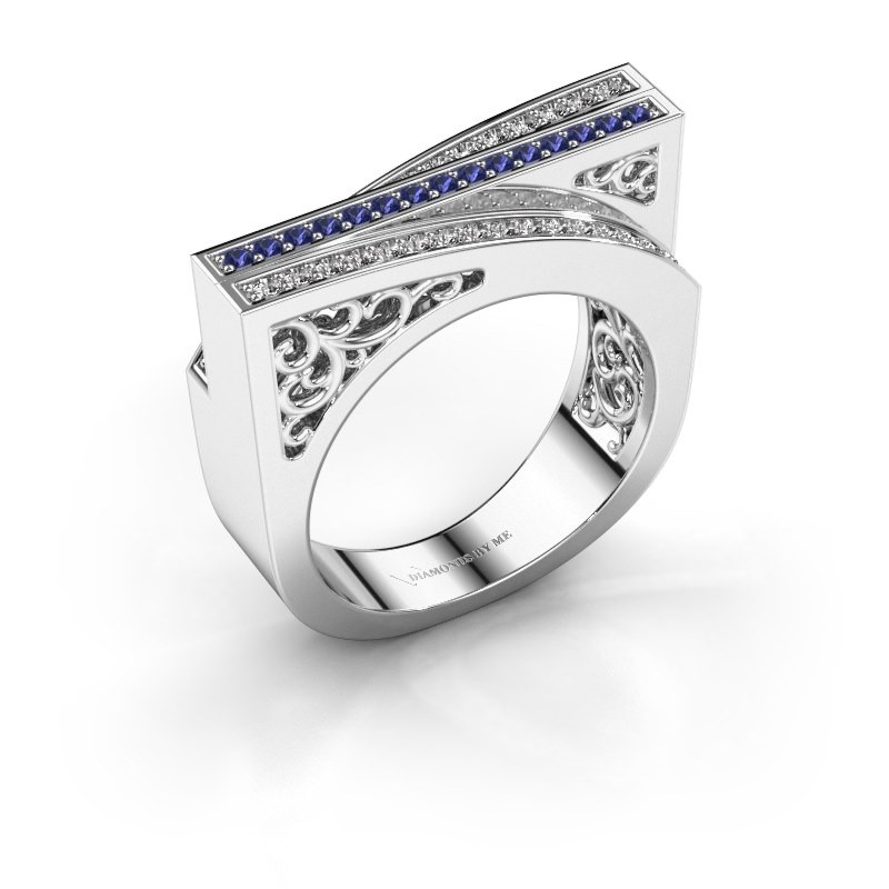 Ring Magda 585 witgoud saffier 1.2 mm