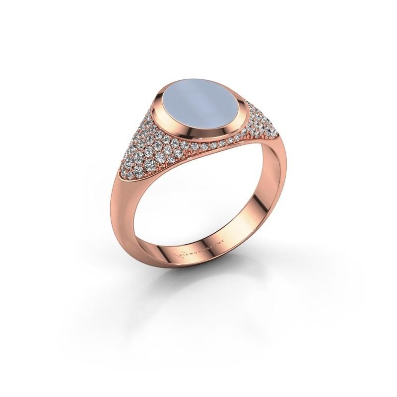 Signet ring Susana 375 rose gold light blue sardonyx 10x8 mm