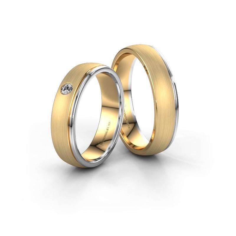 Trouwringen set WH0501LM25AMP ±5x1.7 mm 14 karaat goud diamant 0.06 crt