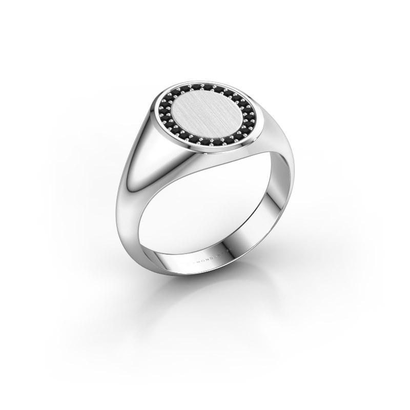 Men's ring Floris Oval 2 585 white gold black diamond 0.216 crt