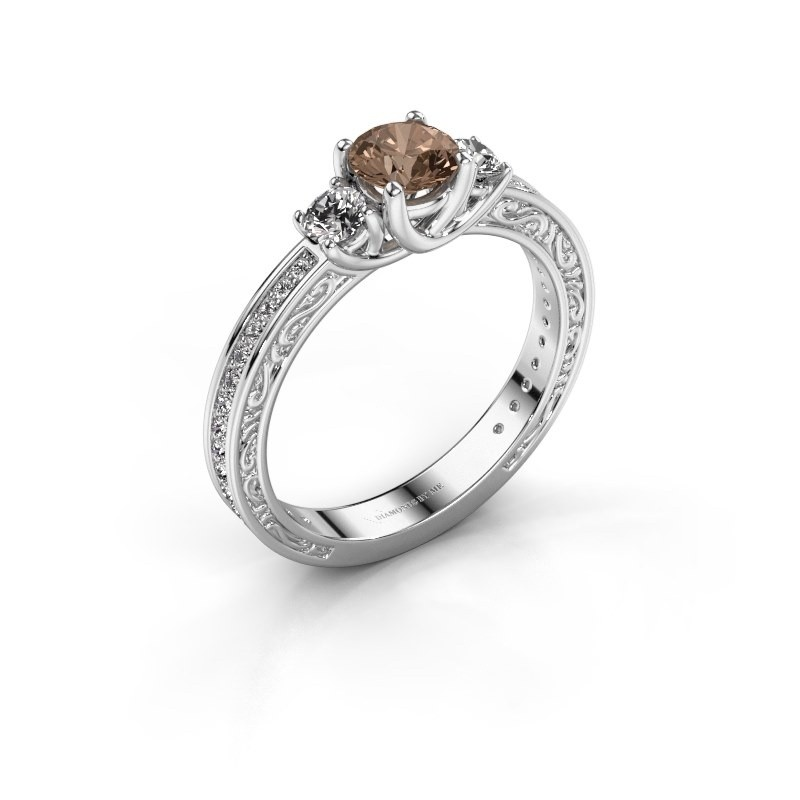 Verlovingsring Betty 2 585 witgoud bruine diamant 0.957 crt