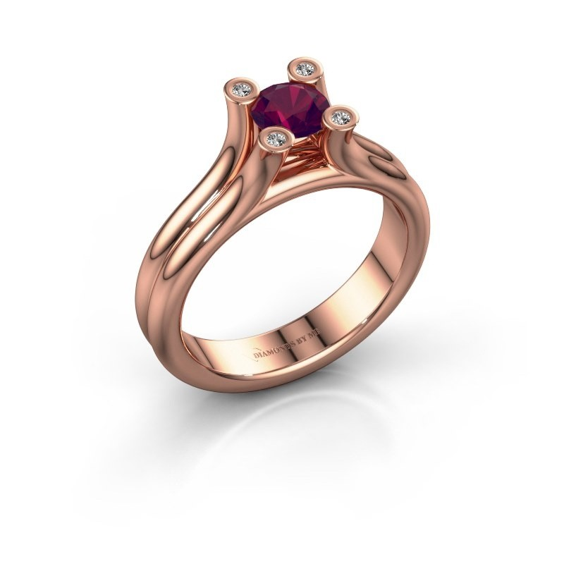 Belofte ring Stefanie 1 375 rosé goud rhodoliet 5 mm