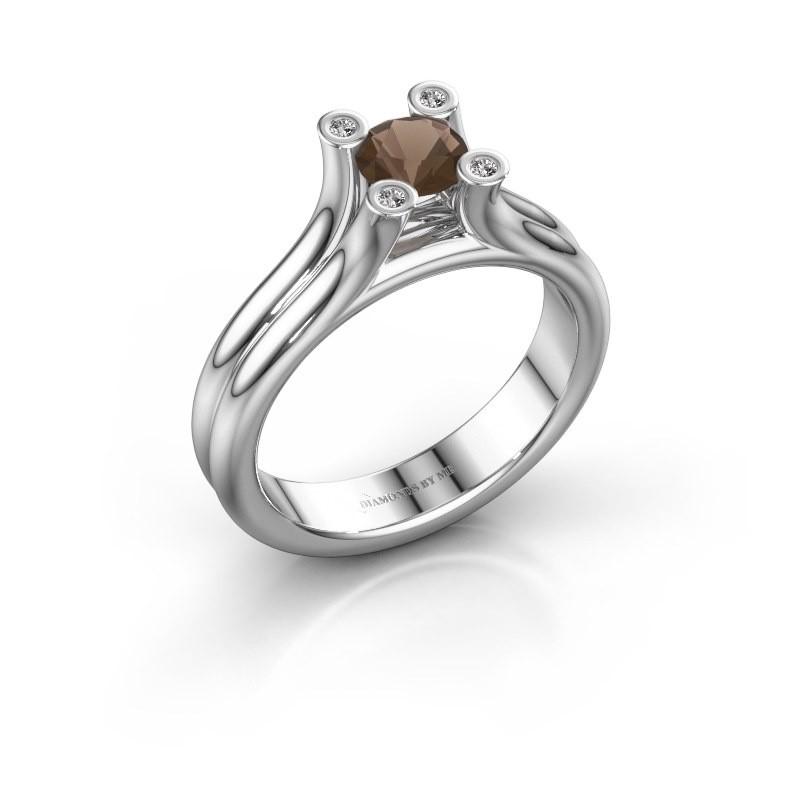 Belofte ring Stefanie 1 950 platina rookkwarts 5 mm