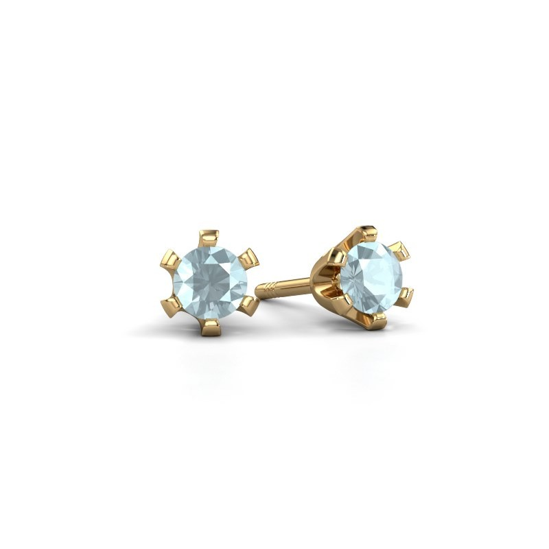 Stud earrings Shana 375 gold aquamarine 4 mm