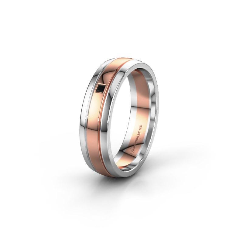 Trouwring WH0422L25X 585 rosé goud zwarte diamant ±5x1.5 mm