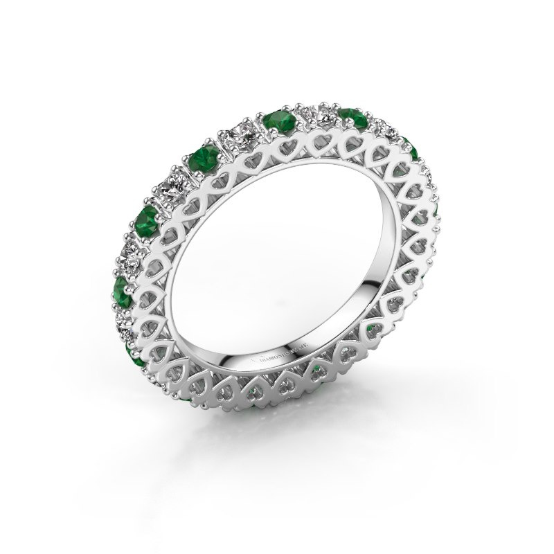 Stackable ring Hailey 585 white gold emerald 2.2 mm