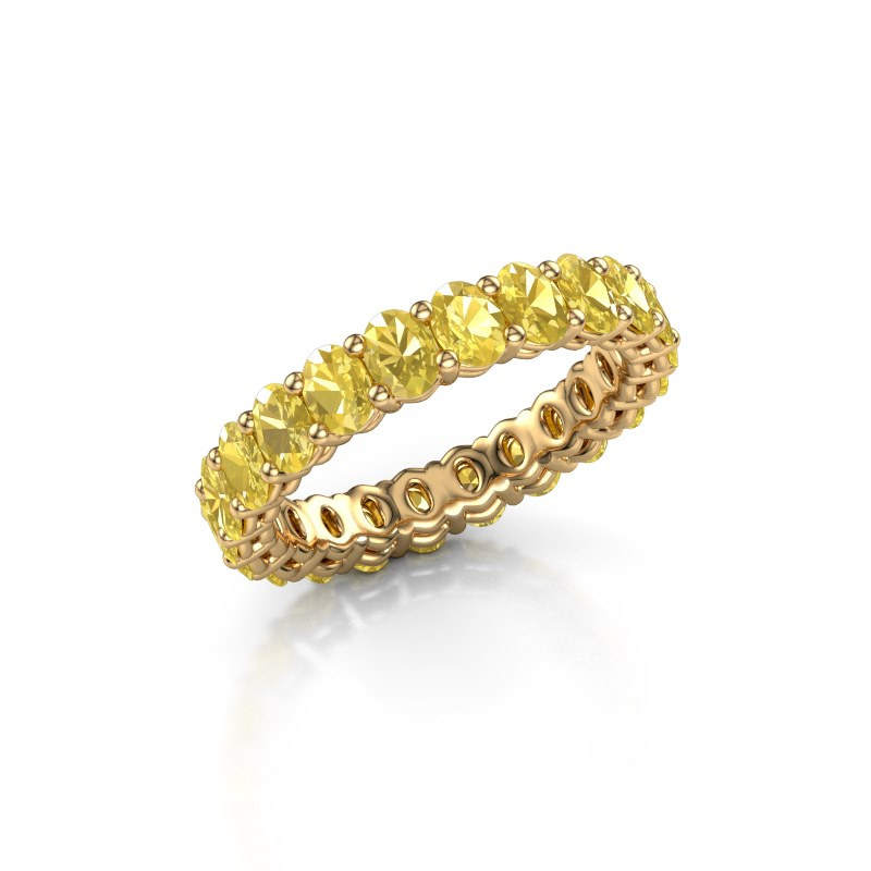 Aanschuifring Heddy OVL 3x4 375 goud gele saffier 4x3 mm