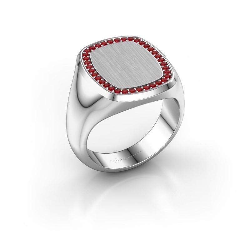 Heren ring Floris Cushion 4 950 platina robijn 1.2 mm