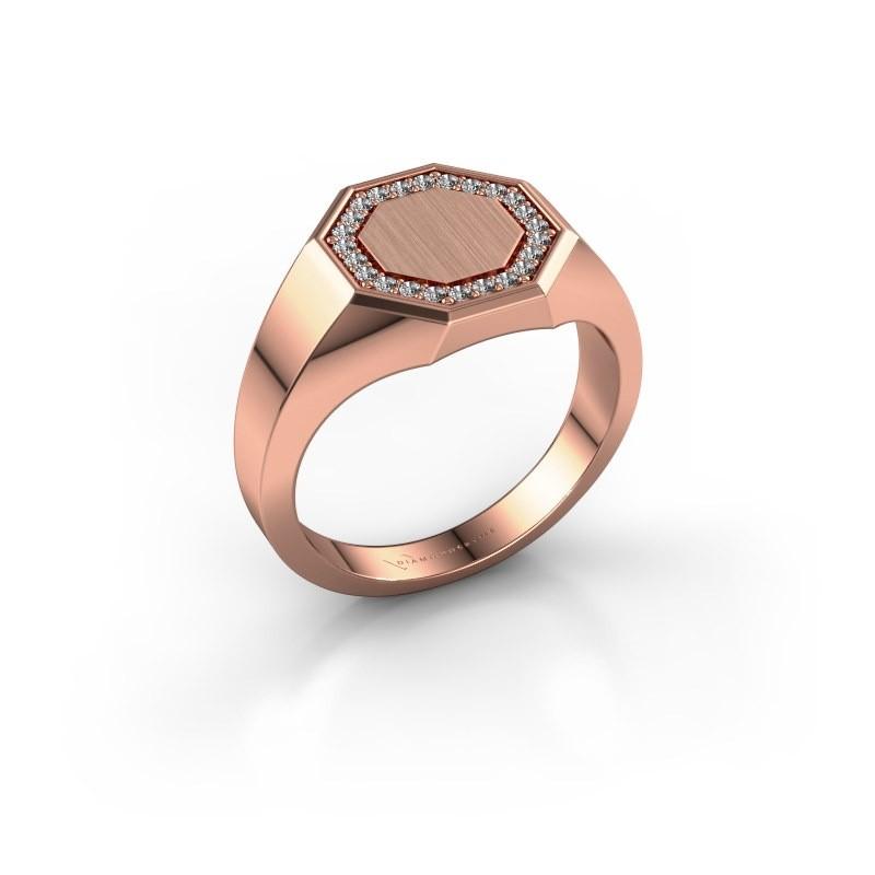 Heren ring Floris Octa 2 375 rosé goud diamant 0.18 crt