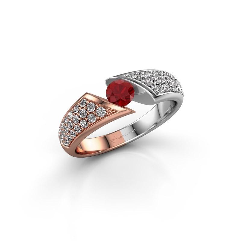 Engagement ring Hojalien 3 585 rose gold ruby 4.2 mm