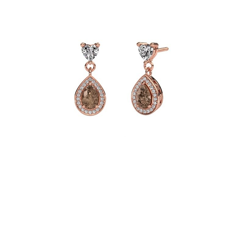 Drop earrings Susannah 375 rose gold brown diamond 1.51 crt