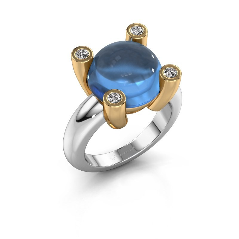 Ring Janice RND 585 witgoud blauw topaas 12 mm