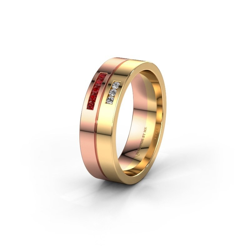 Wedding ring WH0207L16AP 585 rose gold ruby ±0.24x0.07 in