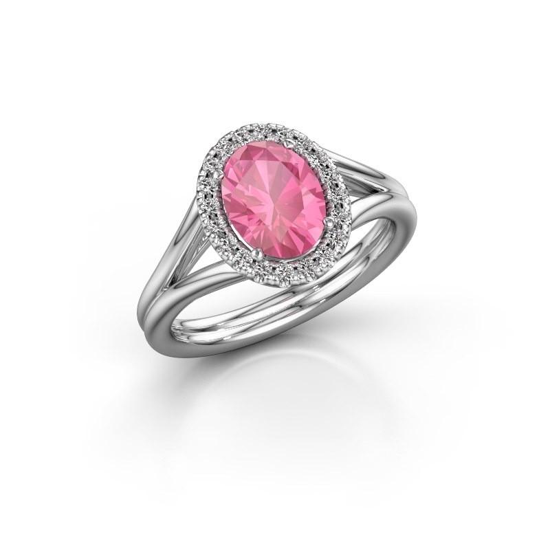 Verlobungsring Rachele 1 925 Silber Pink Saphir 8x6 mm
