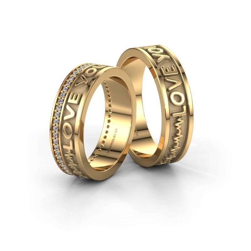 Trouwringen set WHR0436LM ±6x2 mm 14 karaat goud diamant 0.005 crt