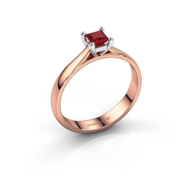 Engagement ring Sam Square 585 rose gold ruby 4 mm