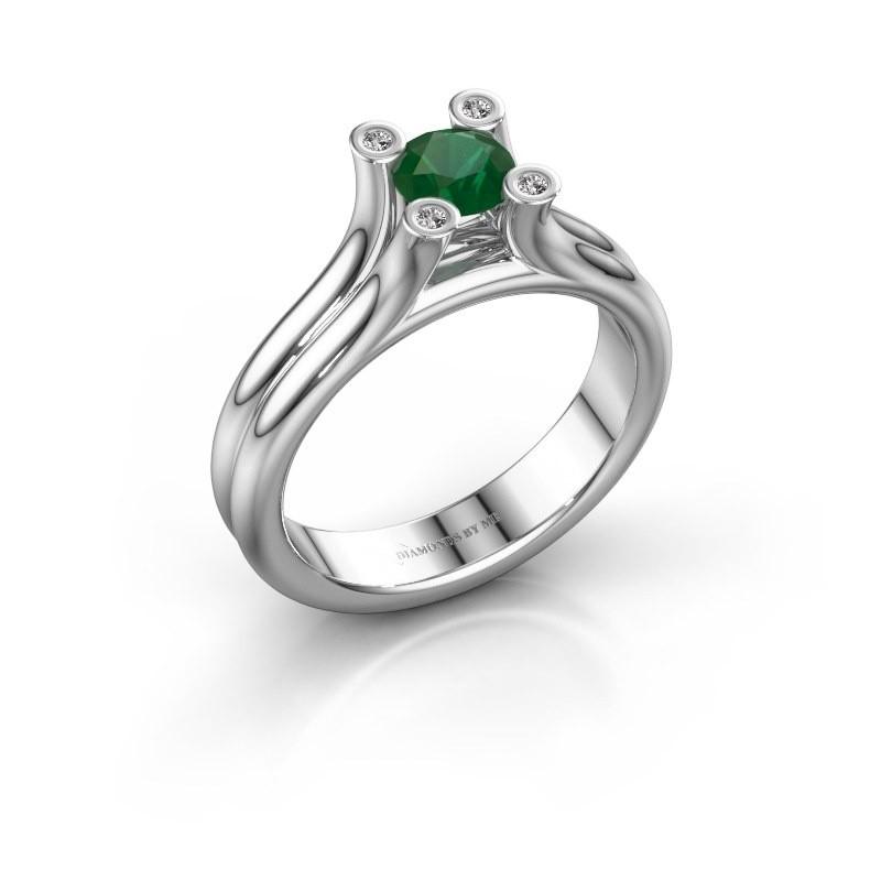 Engagement ring Stefanie 1 375 white gold emerald 5 mm