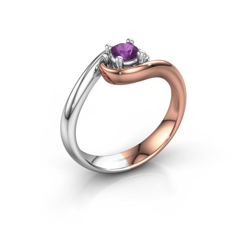 Ring Linn 585 rosé goud amethist 4 mm